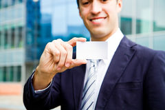 Visit card in hand Stock Photo