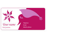 Visit card. With red flower Royalty Free Stock Photo