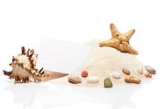 Visit card, starfish, seashell, stones on pile of beach sand Royalty Free Stock Photo