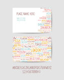 Visit card template with capital cities and a set of handwritten. Visit card template with world capital cities and a set of handwritten letters Stock Photography