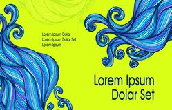 Visit card or template flyer banner with Abstract blue hairs waves on light green. For advertising shampoo or soap or cosmetic or hygiene products or for hair vector illustration