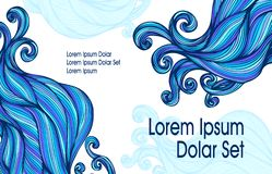 Visit card or template flyer banner with Abstract blue hairs waves on white. For advertising shampoo or soap or cosmetic or hygiene products or for hair beauty vector illustration