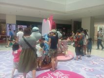 Visit cartoon exhibition of the People in Shenzhen Shekou Garden City Stock Photo