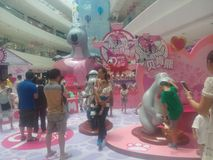 Visit cartoon exhibition of the People in Shenzhen Shekou Garden City Stock Image