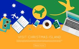 Visit Christmas Island concept for your web. Visit Christmas Island concept for your web banner or print materials. Top view of a laptop, sunglasses and coffee Royalty Free Stock Images