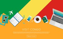 Visit Congo concept for your web banner or print. Visit Congo concept for your web banner or print materials. Top view of a laptop, sunglasses and coffee cup on Royalty Free Stock Photography