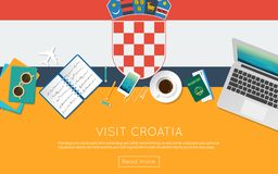 Visit Croatia concept for your web banner. Or print materials. Top view of a laptop, sunglasses and coffee cup on Croatia national flag. Flat style travel Stock Photo