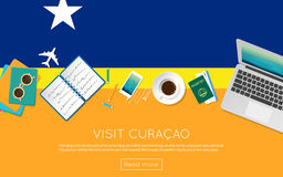 Visit Curacao concept for your web banner or. Royalty Free Stock Photo
