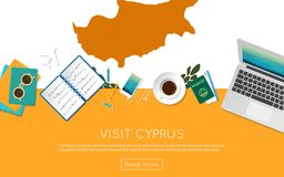 Visit Cyprus concept for your web banner or print. Visit Cyprus concept for your web banner or print materials. Top view of a laptop, sunglasses and coffee cup Royalty Free Stock Photos