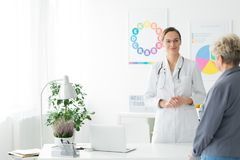 Visit at the dietitian centre. Visit at dietitian centre - smiling female doctor with patient Royalty Free Stock Photography