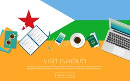 Visit Djibouti concept for your web banner or. Visit Djibouti concept for your web banner or print materials. Top view of a laptop, sunglasses and coffee cup on Stock Photo