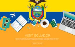 Visit Ecuador concept for your web banner or. Visit Ecuador concept for your web banner or print materials. Top view of a laptop, sunglasses and coffee cup on Royalty Free Stock Image