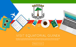 Visit Equatorial Guinea concept for your web. Visit Equatorial Guinea concept for your web banner or print materials. Top view of a laptop, sunglasses and Stock Photos