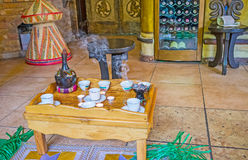Visit Ethiopian coffee ceremony. Ethiopian coffee ceremony is the interesting historic and cultural attraction, popular among the tourist and important for Stock Image