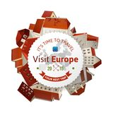 Visit Europe emblem with city landscape Royalty Free Stock Images