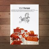 Visit Europe placard with city landscape Royalty Free Stock Photography