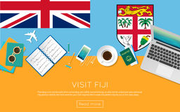 Visit Fiji concept for your web banner or print. Stock Photos