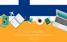 Visit Finland concept for your web banner or. Visit Finland concept for your web banner or print materials. Top view of a laptop, sunglasses and coffee cup on Royalty Free Stock Photo