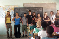 Visit French schoolboys in Burkina Faso Stock Photography