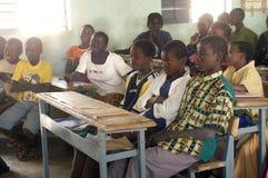 Visit French schoolboys in Burkina Faso Stock Photo