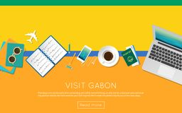 Visit Gabon concept for your web banner or print. Visit Gabon concept for your web banner or print materials. Top view of a laptop, sunglasses and coffee cup on Stock Photography