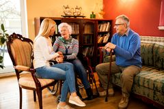 Visit grandparents at home and having beautiful time with them. Visit grandparents and having beautiful time with them Royalty Free Stock Photo