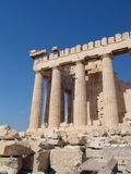 Visit Greece 2. A view of the temple on the Acropolis hill over a blue sky Royalty Free Stock Photos