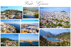 Visit Greece collage - greek aerial photography royalty free stock photo