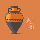 Visit Greece vector illustration. Ancient amphora image promoting travelling to Greece Stock Image