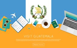 Visit Guatemala concept for your web banner or. Visit Guatemala concept for your web banner or print materials. Top view of a laptop, sunglasses and coffee cup Royalty Free Stock Photo