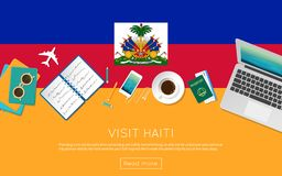 Visit Haiti concept for your web banner or print. Visit Haiti concept for your web banner or print materials. Top view of a laptop, sunglasses and coffee cup on Royalty Free Stock Images