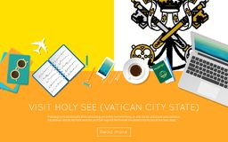 Visit Holy See Vatican City State concept for. Visit Holy See Vatican City State concept for your web banner or print materials. Top view of a laptop Stock Image