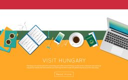 Visit Hungary concept for your web banner or. Visit Hungary concept for your web banner or print materials. Top view of a laptop, sunglasses and coffee cup on Stock Image