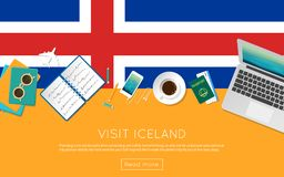 Visit Iceland concept for your web banner or. Visit Iceland concept for your web banner or print materials. Top view of a laptop, sunglasses and coffee cup on Royalty Free Stock Images