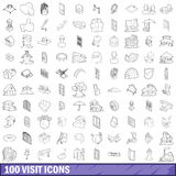 100 visit icons set, outline style Royalty Free Stock Images