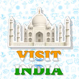 Visit India Sticker. Illustration of sticker of visit India with Taj Mahal Stock Photo