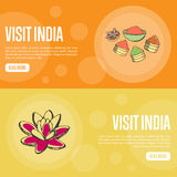 Visit India Touristic Vector Web Banners Royalty Free Stock Photography