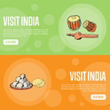Visit India Touristic Vector Web Banners Royalty Free Stock Images