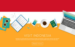 Visit Indonesia concept for your web banner   Royalty Free Stock Photography