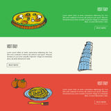 Visit Italy Touristic Vector Web Banners Stock Photography