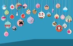 Visit japan circle hang card Stock Image
