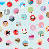 Visit japan circle sticker seamless pattern Stock Photos