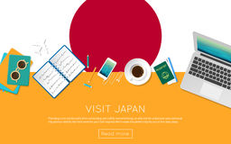 Visit Japan concept for your web banner or print. Stock Photo