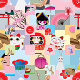 Visit japan square sticker seamless pattern Royalty Free Stock Photography