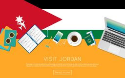 Visit Jordan concept for your web banner or print. Visit Jordan concept for your web banner or print materials. Top view of a laptop, sunglasses and coffee cup Stock Images