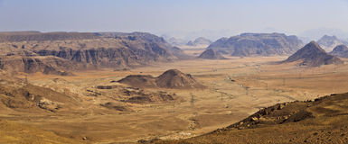 Wadi Rum mountains ,Jordan. Wadi Rum desert and mountains from Negev heights Stock Images
