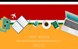 Visit Kenya concept for your web banner or print. Visit Kenya concept for your web banner or print materials. Top view of a laptop, sunglasses and coffee cup on Royalty Free Stock Image