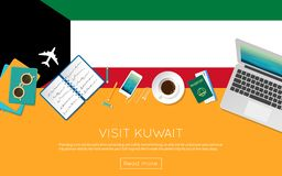 Visit Kuwait concept for your web banner or print. Visit Kuwait concept for your web banner or print materials. Top view of a laptop, sunglasses and coffee cup Royalty Free Stock Photography