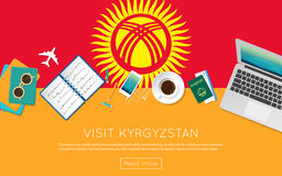 Visit Kyrgyzstan concept for your web banner or. Stock Image
