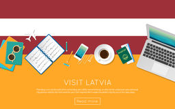 Visit Latvia concept for your web banner or print. Royalty Free Stock Photo